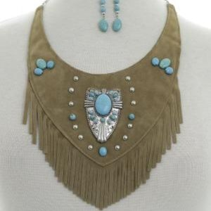 Turquoise Silver Concho Suede Necklac Earrings Set